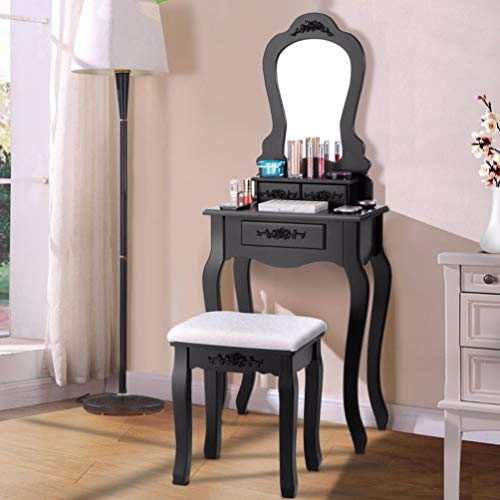 Wood Makeup Dressing Table Stool Set Jewelry Desk Drawer Mirror Black Home Furniture