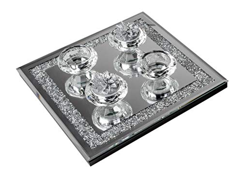 formano Dekotablett Teelichthalter Strass Spiegel 25x25cm Kerzentablett Brilliant Design