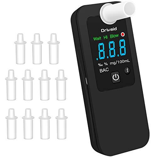 Drivaid Ethylotest Electronique Rechargeable, Alcootest Portable, Capteur Semi-conducteur, Numerique Écran LED, 4 Niveau d'Alerte, 4 Unités Mesure, Testeur d'alcool Professionnel avec 12 Embouchures