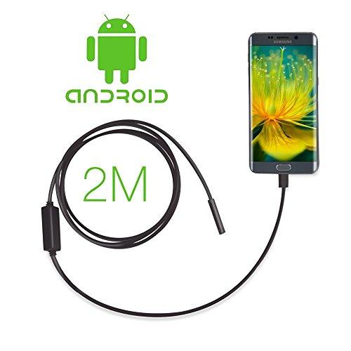 GBB Android OTG micro USB endoscopio, Camera 7 millimetri endoscopio Micro USB impermeabile portatile periscopio digitale macchina fotografica di controllo del serpente con 6 LED e 2 Meter cavo