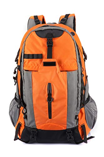 ELLINDO Large Waterproof 50L Hiking Backpack - Packable Lightweight Travel Backpack Daypack With Raincover (orange)
