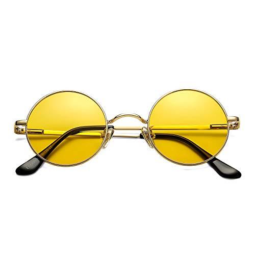 Pro Acme Retro Small Round Polarized Sunglasses for Men Women John Lennon Style (Gold Frame/Transparent Yellow Lens)