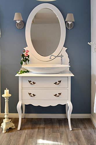 Waschtisch mit Spiegel Aufsatzwaschbecken Landhaus Badmöbel Shabby-Chic Waschbeckenunterschrank Nostalgie