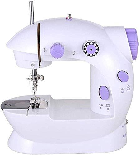 Yuaer Máquina de coser eléctrica, máquina de coser overlock doméstica multifunción portátil, con protector de aguja para regalos familiares para principiantes, 20 * 10 * 19 cm