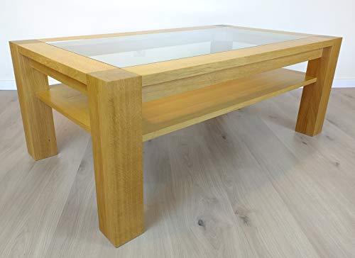 Couchtisch/Wohnzimmertisch/Sofatisch - Modell Coesfeld mit Glasplatte und Ablageboden 130 x 75 cm Höhe 50 cm, der Moderne Masstisch in Eiche vollmassiv Qualität \'Made in Germany\'