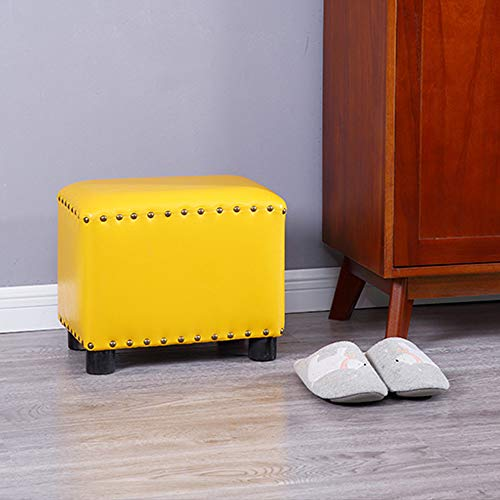 KST Premium Faux Leather Ottoman Footrest Stool, 15in(37cm) Rectangle Entrance Shoe Stool,Living Room Coffee Table with Mute Foot Rivet Decoration,Yellow