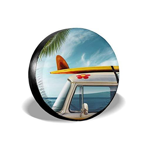 LYMT Cubierta de llanta Furgoneta Vintage con Tabla de Surf en Palmera y Cubierta de Cubierta de llanta de Repuesto para Remolque, RV, Todoterreno, Rueda de camión 14-17inch