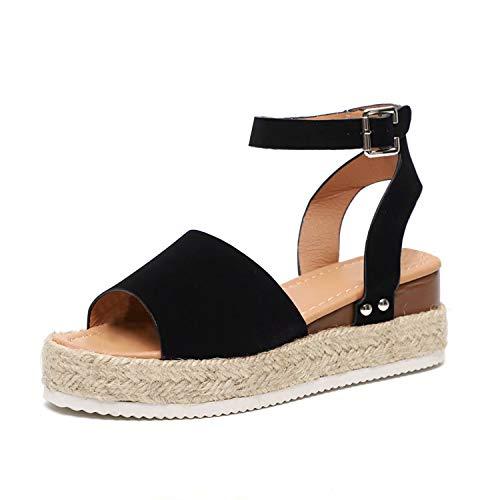 Sandalias Mujer Plataformas Verano Cuña Piel 5 CM Tacon Punta Abierta Plana Tobillo Zapato De Playa Moda Fiesta Negro 38