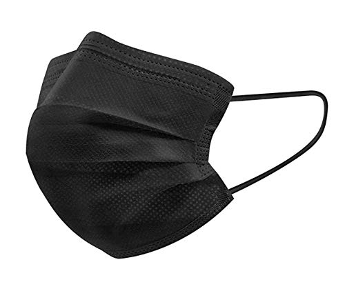 iCOOLIO Medizinische OP Masken ce Zertifiziert, Typ IIR medizinischer Masken mundschutz, Mund und nasenschutz, einwegmasken, schutzmasken, Gesichtsmaske, einweg Maske 50 Stück schwarz