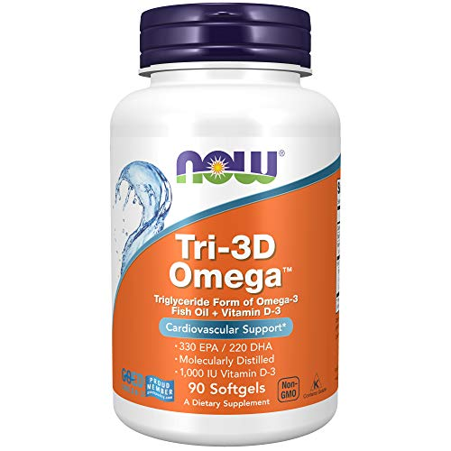 NOW Supplements, Tri-3D Omega™, Triglyceride Form of Omega-3 Fish Oil + Vitamin D-3, Molecularly Distilled, 90 Softgels Idaho