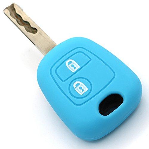 Schlüssel Hülle PEC für 2 Tasten Autoschlüssel Silikon Cover von Finest-Folia (Hellblau)