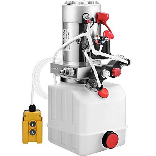 OldFe 4L Hydraulikpumpe Nenndrehzahl 2850R / MIN Hydraulikaggregat doppeltwirkende Kipperpumpe mit Tank aus Kunststoff weiß 4,5M Kabelfernbedienung