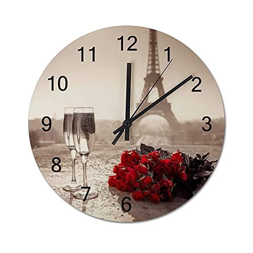 Reloj de Pared Vintage,Copa de Vino Rose Paris Paint,Relojes de Pared de Madera silenciosos Que no Hacen tictac,Reloj de Pared rústico de Granja para la decoración del Dormitorio de la Sala de Estar