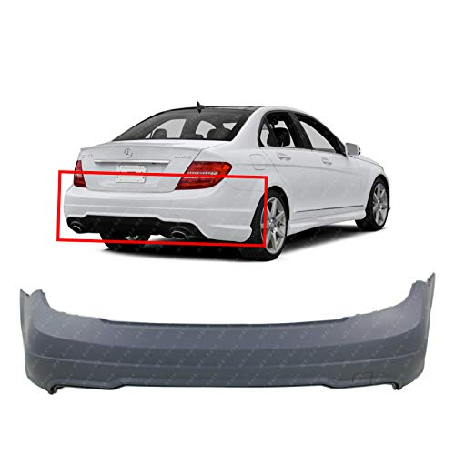 BUMPERS THAT DELIVER - Primered, Rear Bumper Cover Replacement for 2012-2015 Mercedes Benz C-Class Sport 12-15, MB1100287
