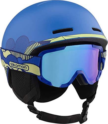 Salomon Kinder Ski- und Snowboardhelm mit Skibrille (Kat. 2), Geeignet für Brillenträger, Größe KM, Kopfumfang 53-56 cm, Player Combo, blau, L41031200