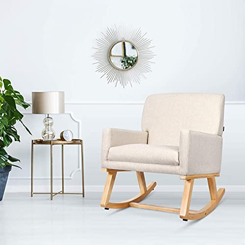 CASART Rocking Chair, Upholstered Lounge Rocker Armchair, Padded Seat Accent Leisure Relaxing Chair for Living Room, Bedroom and Office (Beige)