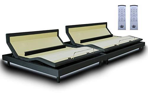 DynastyMattress DM9000s Split King Adjustable Bed Base Frame, Top of The Line Quality, (Independent Head Tilt & Lumbar Support) Quad Massage, Bluetooth, Audio Music