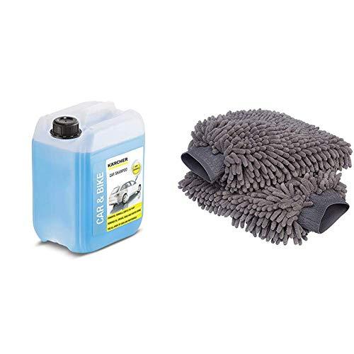 Karcher, 6.295-360.0, Autoshampoo ** 5 L & AmazonBasics - Guanto Deluxe in Microfibra per la Pulizia dell'auto, Confezione da 2