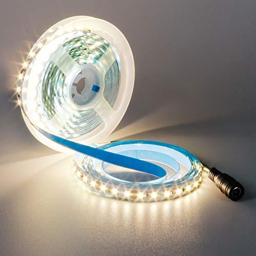 YUNBO Striscia LED Bianco Naturale 4000-4500K, 5M 12V SMD 2835 600LED Flessibile Tagliabile IP20 Non impermeabile Luci a LED per Casa Camera Cucina