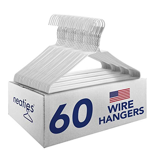 Neaties USA Made Heavy Duty White Vinyl Wire Clothes Hangers, 60pk