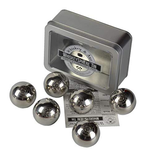 Whiskey & Axe - Premium Set of 6 Stainless Steel Ice Spheres - WhiskeySphere Tin v.2