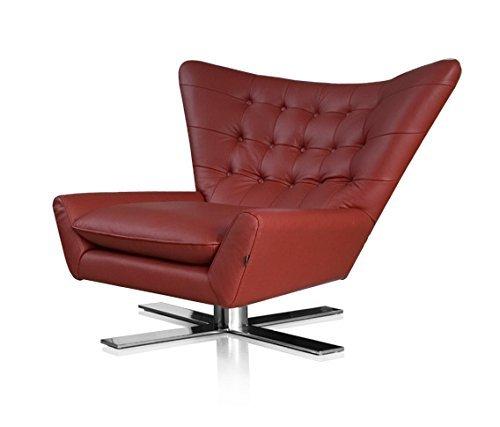 NEUERRAUM Drehbarer V-förmiger Echtleder Ohrensessel Fernsehsessel Armlehnsessel Lounge Sessel. Abbildung in Leder Bordeaux Rot