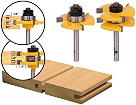 Yonico 15221q 3/4-Inch 2 Bit Tongue and Groove Router Bit Set 1/4-Inch Shank