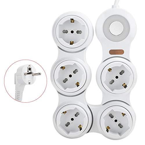Asixxsix Enchufe de extensión, Protector de sobretensión de Puertos USB, Enchufe de la UE 220 V-250 V Retardante de Llama 5 Conectores cóncavos 10 A Plegable para Oficina en casa