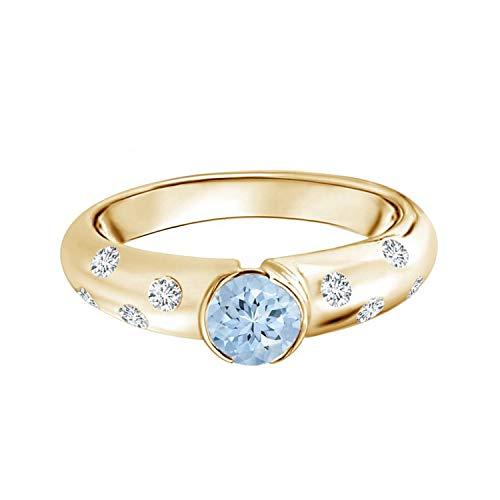Shine Jewel Piedra Preciosa Aguamarina Semi Bisel con Anillo de Oro de 9 Quilates con Solitario apilable de Diamantes (Oro Amarillo, 12)