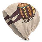 Top Level Beanie Men Women - Ethnic Ornamental African Animal with Eggs Tribal Effects Traditional Boho Pattern - Unisex Cuffed Plain Skull Knit Hat Cap
