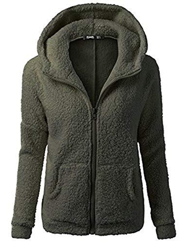 iHENGH Damen Winter Jacke Dicker Warm Bequem Slim Parka Mantel Lässig Mode Frauen Mit Kapuze Pullover Wolle Reißverschluss Baumwollmantel Outwear