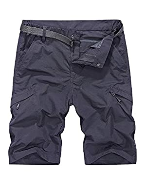 Toomett Men's Outdoor Lightweight Hiking Shorts Quick Dry Shorts Sports Casual Shorts (5516 Grey, 32)