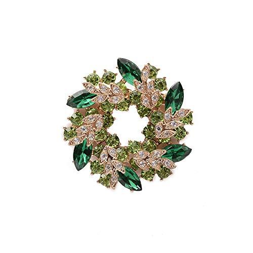 Cosanter - Spilla da Donna Brooch a Forma Ghirlanda Clip Sette Colori Sciarpa Abbigliamento Adatto per Banchetti Matrimoni Party Decor(Verde)
