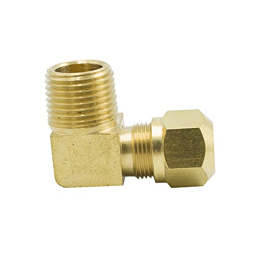 compression elbow fittings Vis Brass DOT Air Brake Compression Fitting, 90 Degree Male Elbow, Adapter Nylon Tubing to Male Pipe, 1/2
