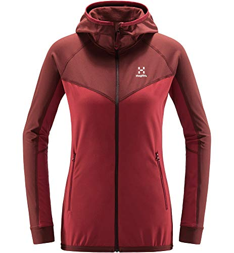 Haglöfs Fleecejacke Frauen Fleecejacke Lithe Hood Women wärmend, atmungsaktiv, Stretch beweglich Extra Small Brick red/Maroon red  M M Medium