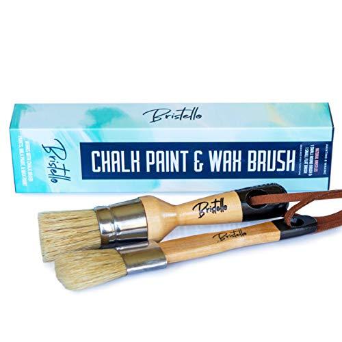 """Bristello Wax Brush Chalk Paint Brush Set. 1x Flat Furniture Paint Brush and 1x Round Chalk Paint Brushes for Furniture. 1"""" Small Paint Brush Duo – Stencil Brush, Milk Paint and Wax Paintbrush"""