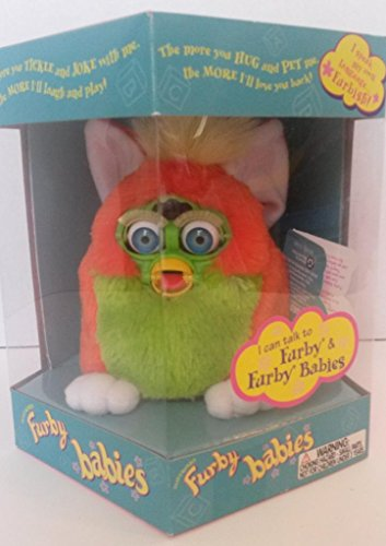 Furby Baby - Orange with Lime Green Belly and Yellow Hair C041A 3379A