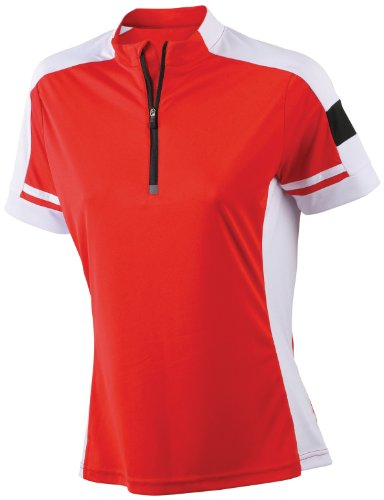 James & Nicholson Damen Sport T-Shirt Radtrikots Bike-T-Half Zip rot (red) Large
