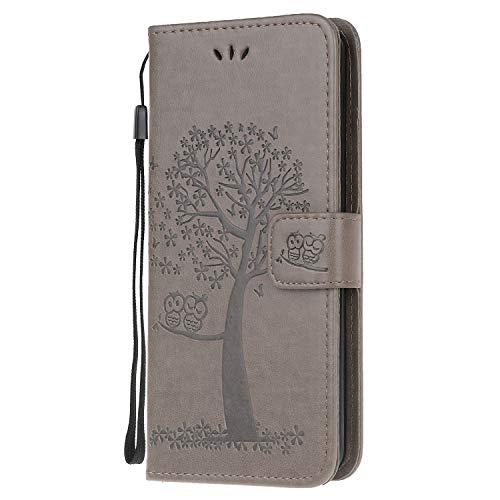 Compatible con Samsung Galaxy M32, funda de piel sintética, billetera, cera de aceite, tapa magnética, desmontable, con ranuras para tarjetas de identificación para Galaxy M32, gris