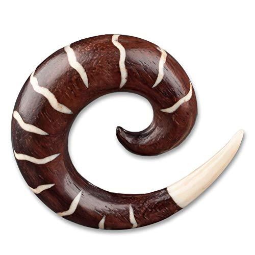 viva-adorno® 1 Stück Dehnungsspirale Holz Bone Inlay handgeschnitzt Expander Taper Sichel Spirale Ohr Piercing 6-16mm WX7_F, 8mm