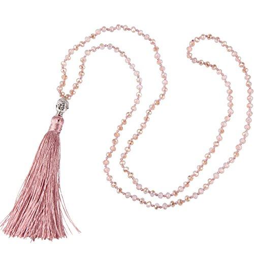 KELITCH Frauen Quaste Halskette Kristall Perlen Halskette Handmade Silber Buddha Kopf Anhänger Halskette