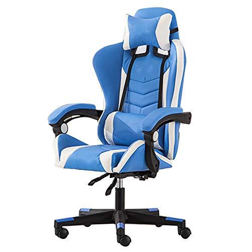WPJ E-Sports Gaming Chair, Recliner Swivel Tilt Rocker and Seat Height Adjustment Ergonomic Office Desk Chair Computer Desk Chair with Lumbar Cushion (Color : Blue)