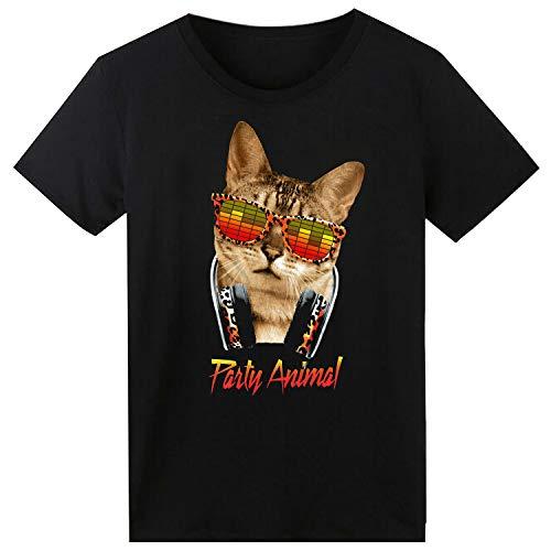 SOOOEC - Camiseta con Luz Led y Sonido Activado (Gafas de Gato, Large)