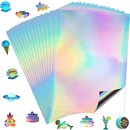 50 Sheets Holographic Sticker Paper Holographic A4 Printable Vinyl Sticker Paper Rainbow Vinyl Sticker Paper Waterproof Sticker Paper for Laser Printer Self-Adhesive Labels Crafts DIY Projects