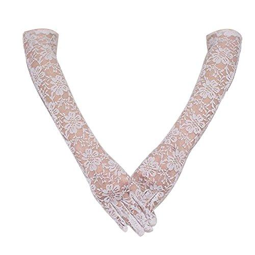 OULII Lange Spitze Braut Handschuhe Braut Kleid Handschuhe für Hochzeit Party Dekoration (weiß)