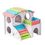 Casa de Madera para escondite de hámster, Accesorios de Color arcoíris, diseño de Villa compuesta de Juguete con Puente de Ejercicio, Nido de cabaña de Vida Divertida para Animales pequeños