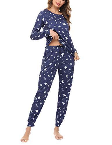 Irevial Pijamas para Mujer,Elegante Pijamas de Estampado de diseño Estrella, Mangas Larga Camiseta...