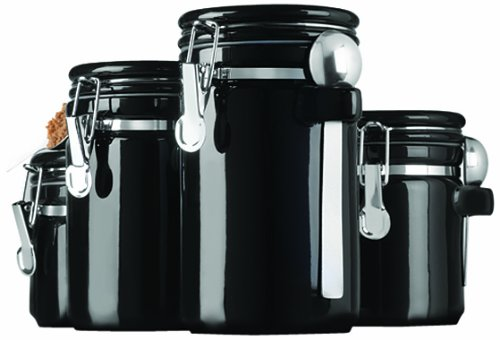 Anchor Hocking 4-Piece Black Ceramic Canister Set with Stainless Steel Spoons