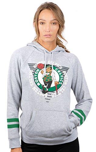 Ultra Game NBA Boston Celtics Womens Soft Fleece Pullover Hoodie Sweatshirt With Varsity Stripe, Heather Gray, X-Large