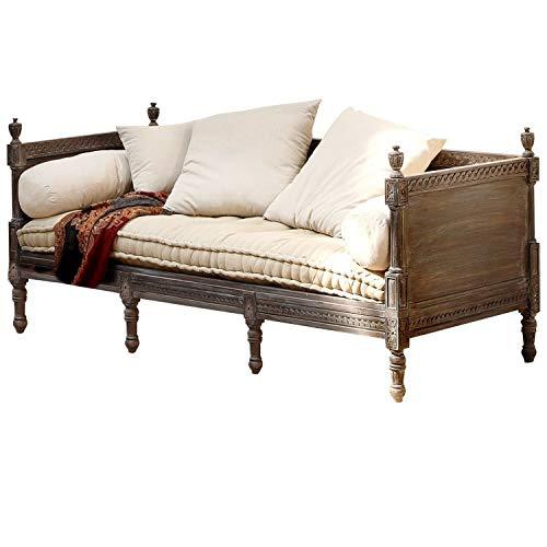 Loberon Sofa Douville, Mangoholz/Leinen, H/B/T ca. 85/200 / 80 cm, Graubraun/Creme